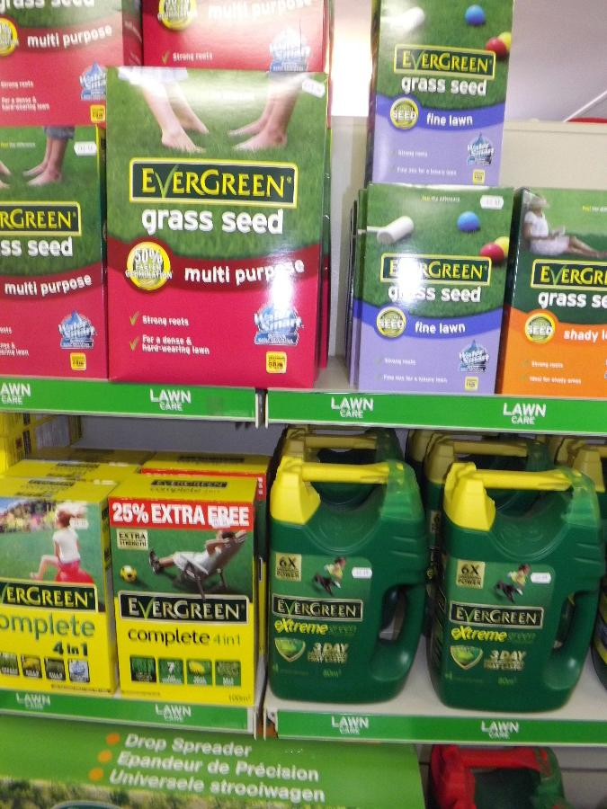 Evergreen Lawn Care products at the Castle Douglas Garden Centre