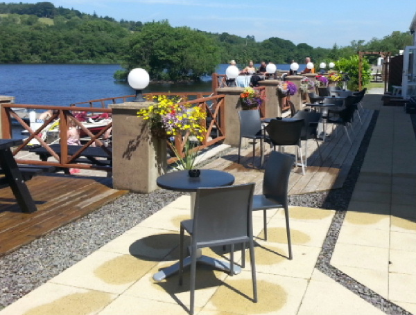 Eating and seating area overlooking the loch