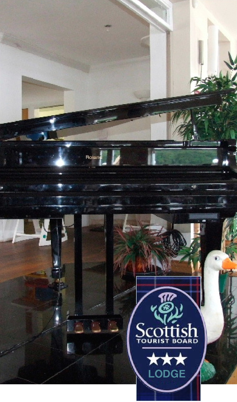 A grand piano at the Inn on the  Loch Hotel and Restaurant, Dumfries, Scotland