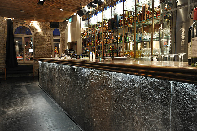 Bar frontage made with tile panels from Concrete Ideas