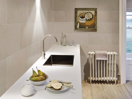 Balletto White Honed Limestone wall tiles from Dream Tiles Bicester