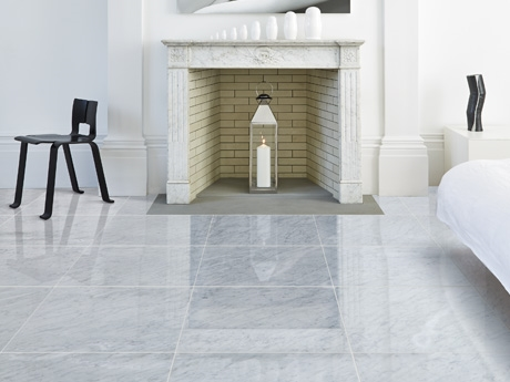 Carra polished marble floor tiles from Dream Tiles Bicester