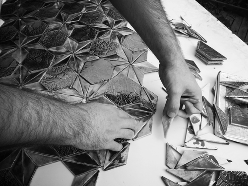 Guy Mitchell making his beautiful tiles by hand