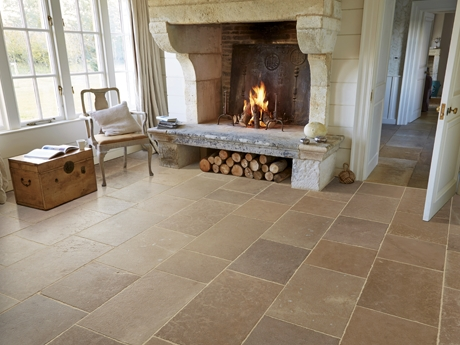 Antiqued limestone floor tiles from Dream Tiles of Bicester