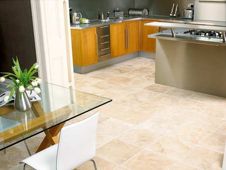 Ivory Travertine floor tiles from Dream Tiles
