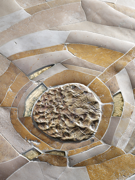 Stunning circular floor tiles made out of natural stone in Italy, as distributed in the UK by Dream Tiles of Bicester