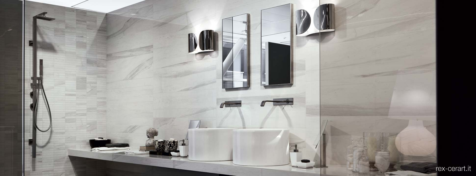Stylish luxury Italian floor and wall tiles by Rex Ceramica for a luxury bathroom