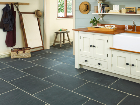 Rustic black slate floor tiles from Dream Tiles Bicester