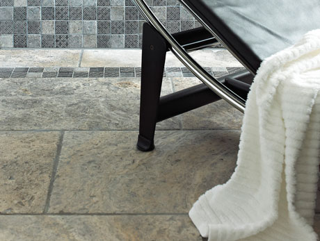 Silver Travertine Limestone floor tiles from Dream Tiles Bicester