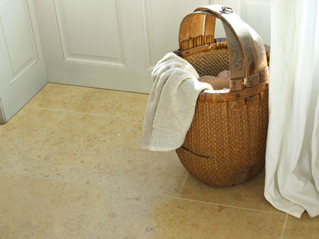 Tulum Gold limestone floor tiles from Dream Tiles
