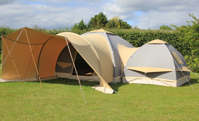 Karsten 300 Inflatable Tent Linked with a 220 and Comfort / Combi Awning & Karsten Link Tents