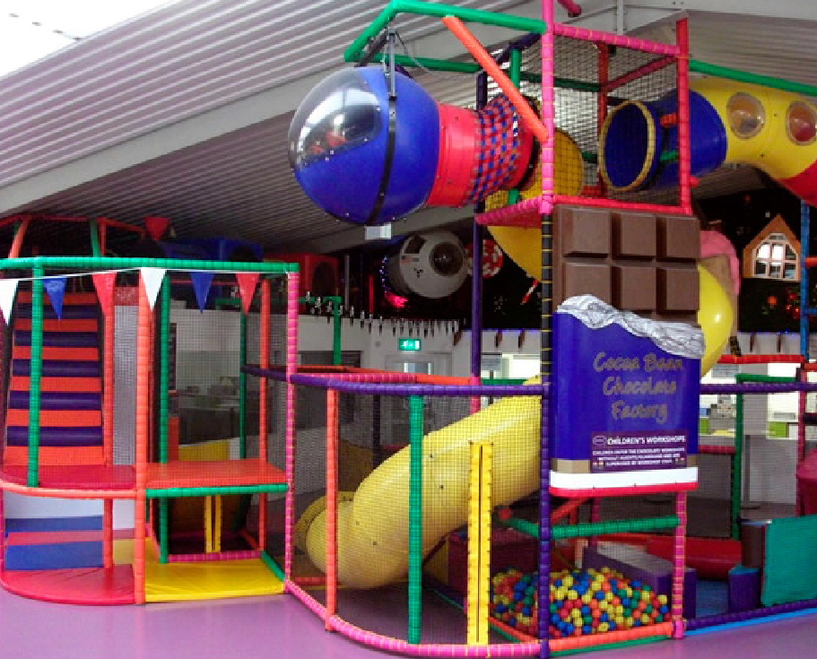 Some of the play areas inside the Cocoa Bean Children's Chocolate Factory at Twynholm