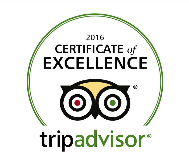 2016 Winner of Certificate of Excellence logo from TripAdvisor