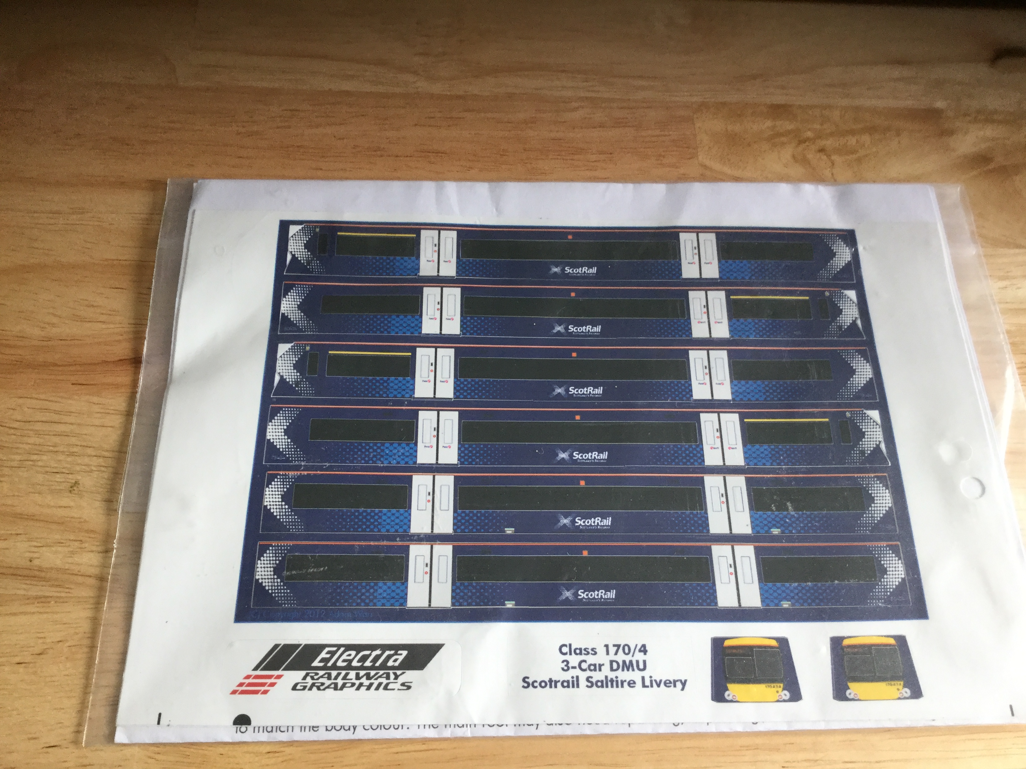 Electra Class 170/4 3 DMU Scotrail Saltaire Livery Vinyls