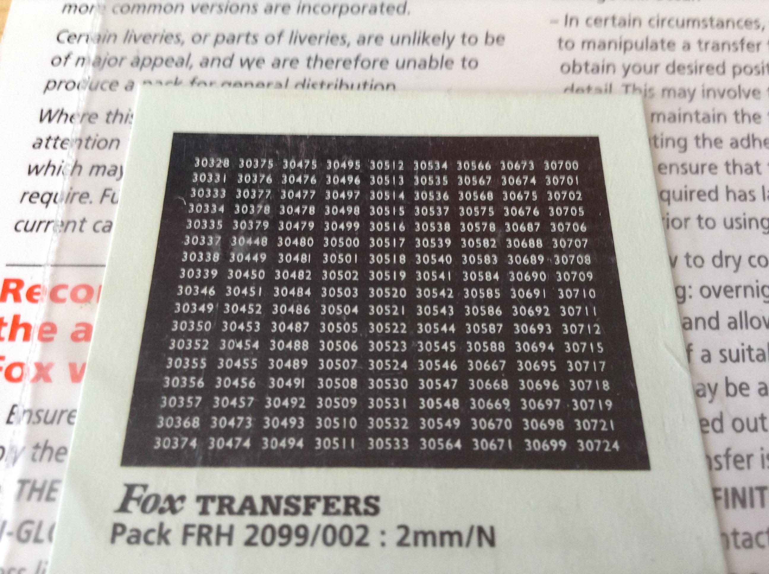 Fox FRH2099/002 Southern Region Smokebox Numbersets