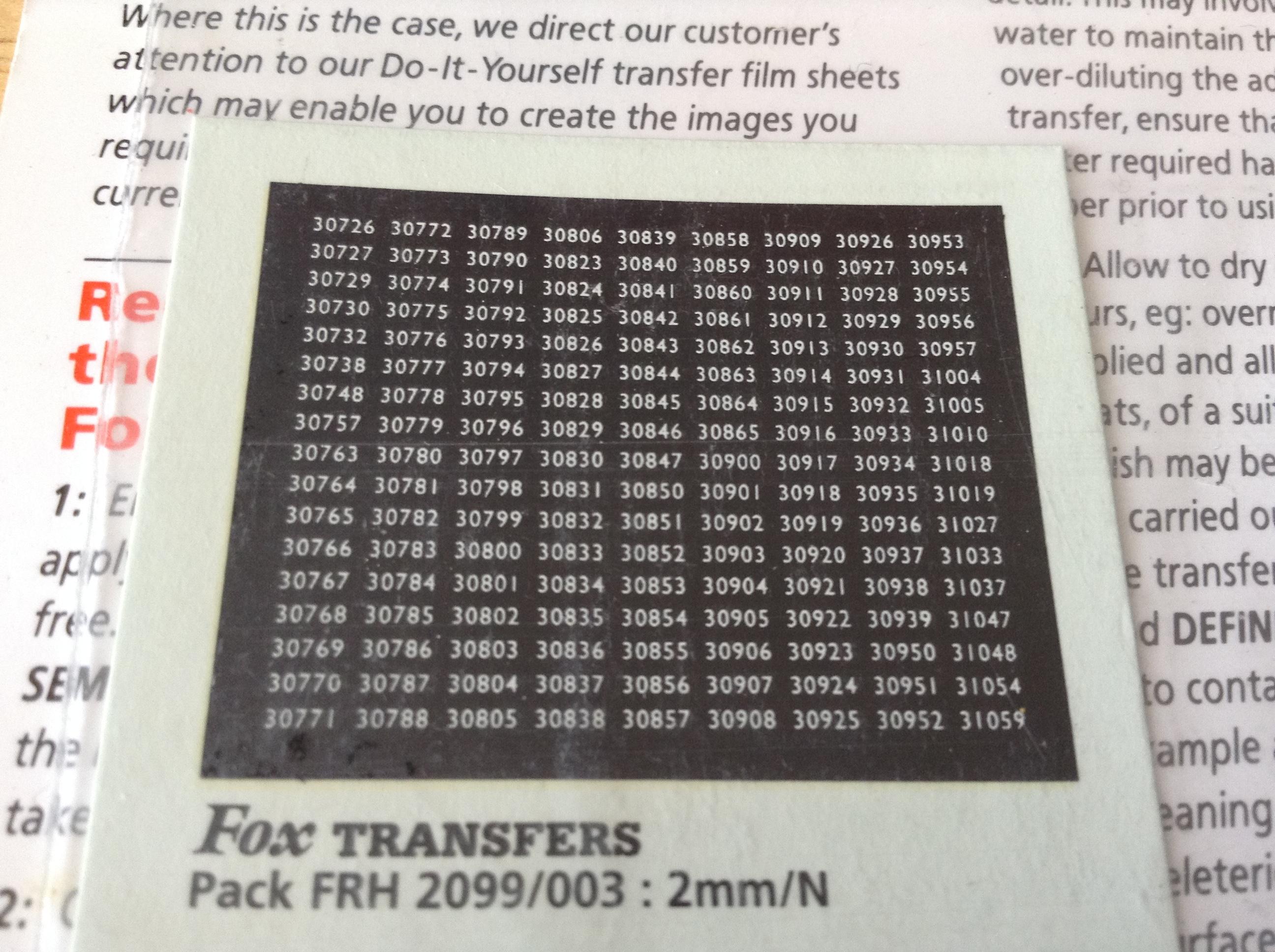 Fox FRH2099/003 Southern Region Smokebox Numbersets