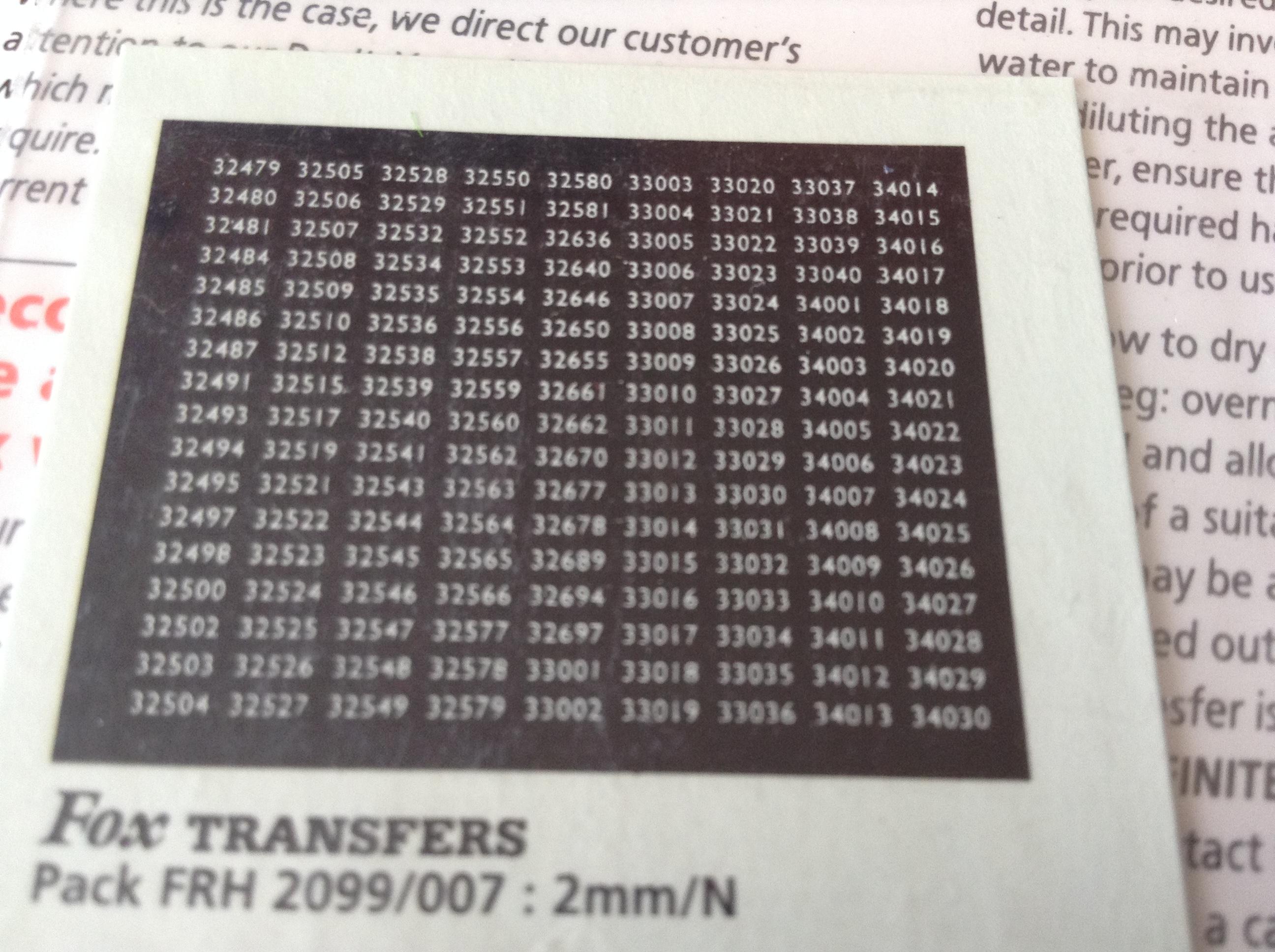 Fox FRH2099/007 Southern Region Smokebox Numbersets