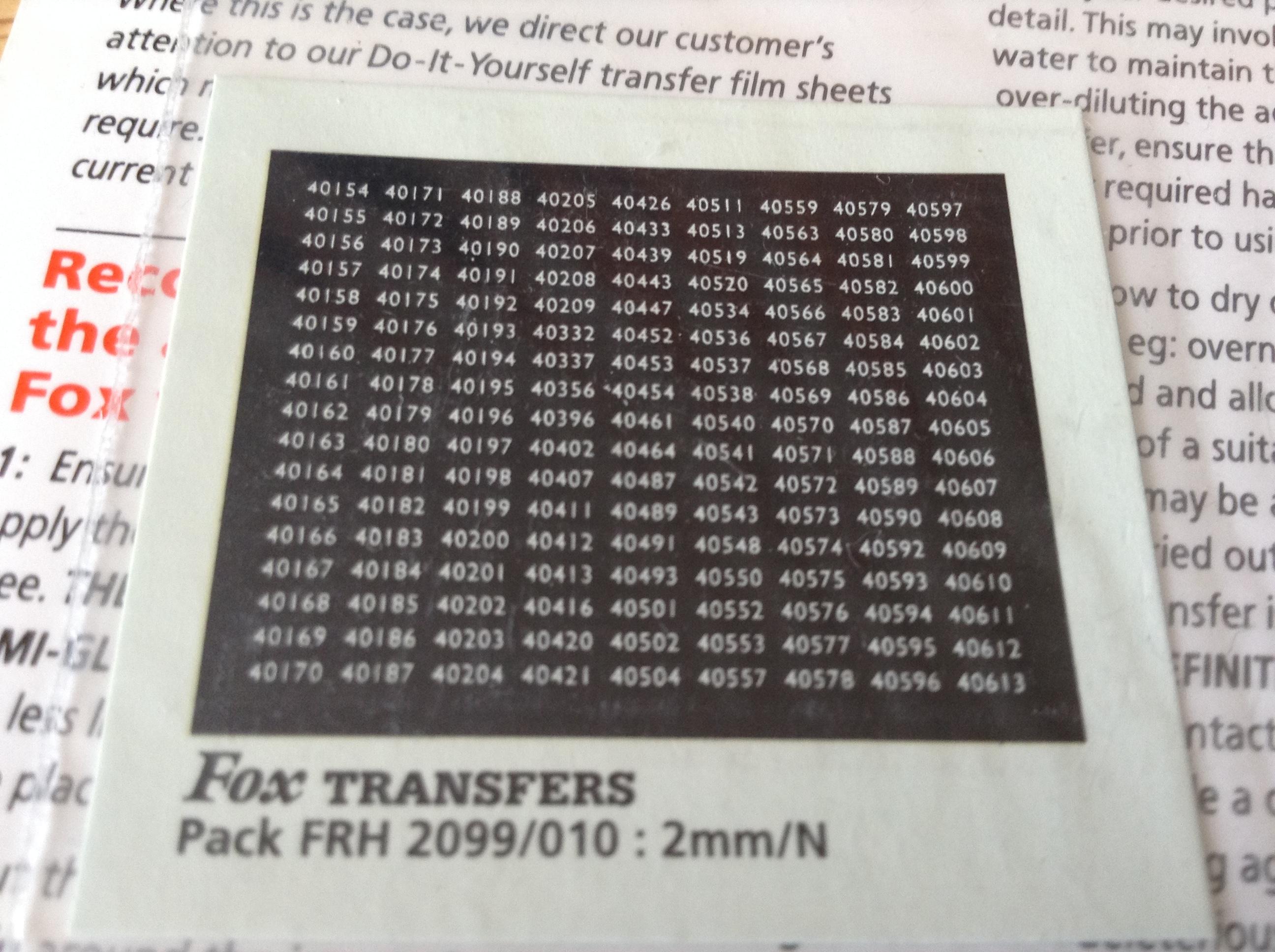 Fox FRH2099/010 Midland Region Smokebox Numbersets