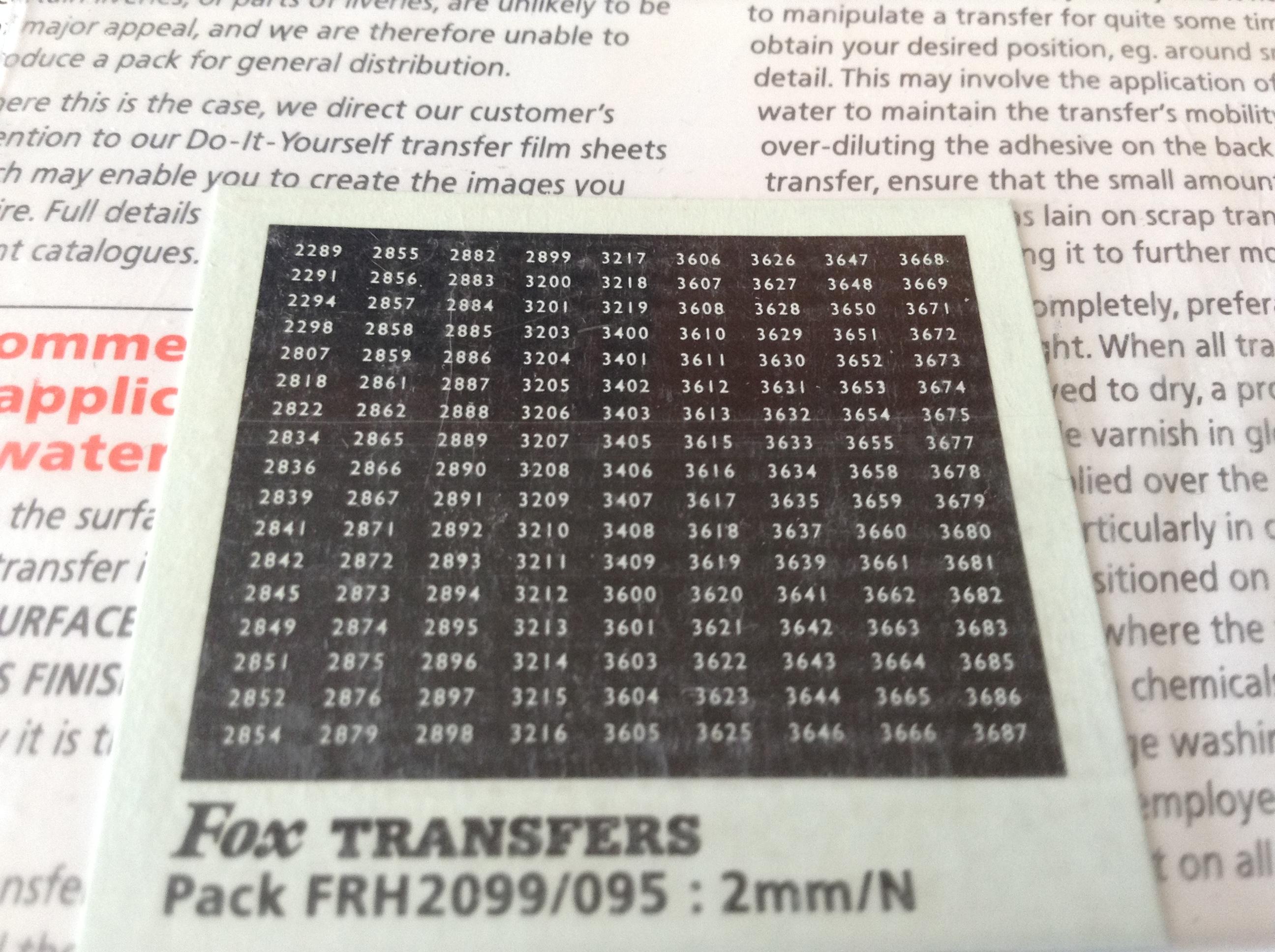 Fox FRH2099/095 Western Region Smokebox Numbersets