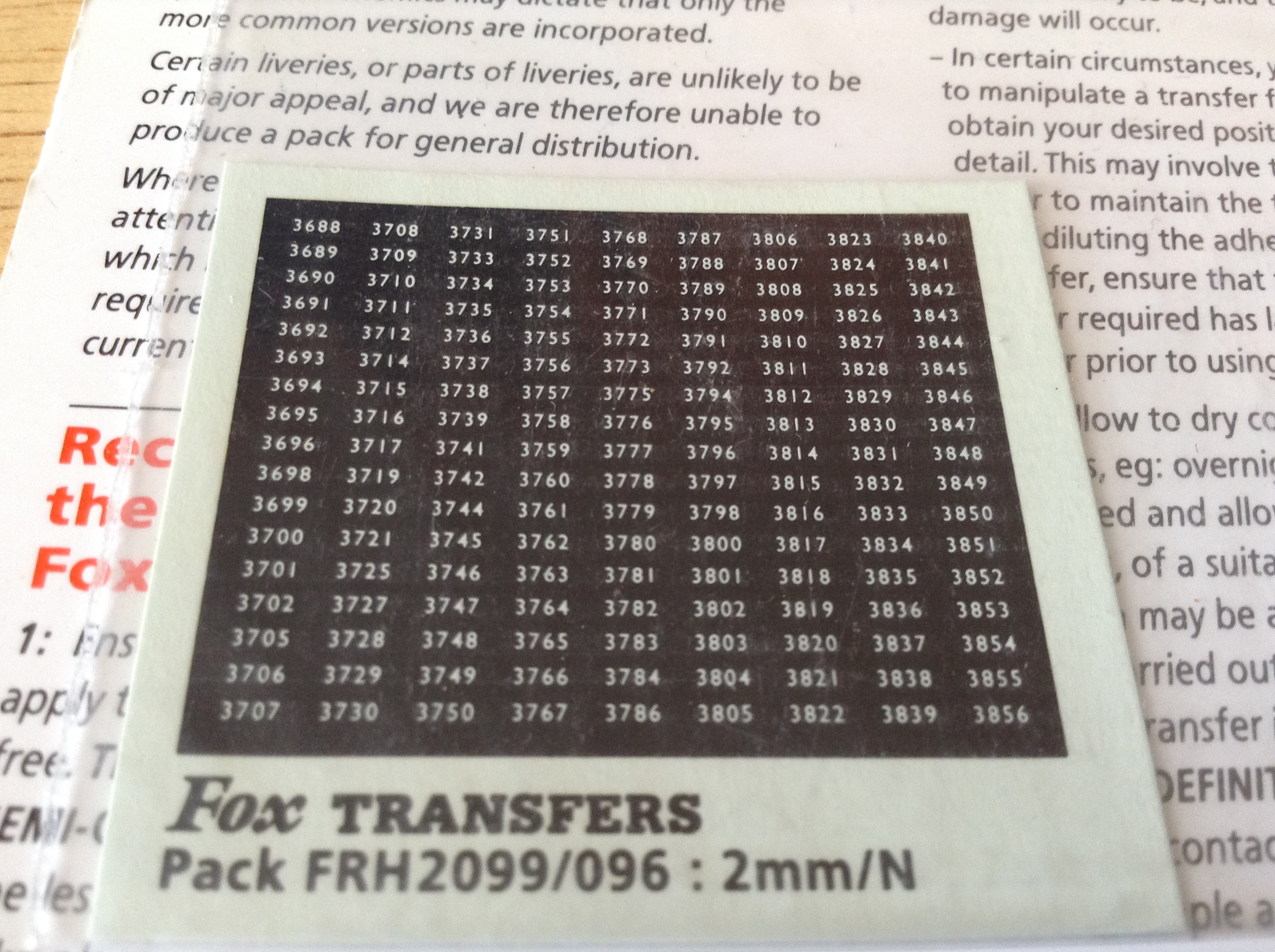 Fox FRH2099/096 Western Region Smokebox Numbersets