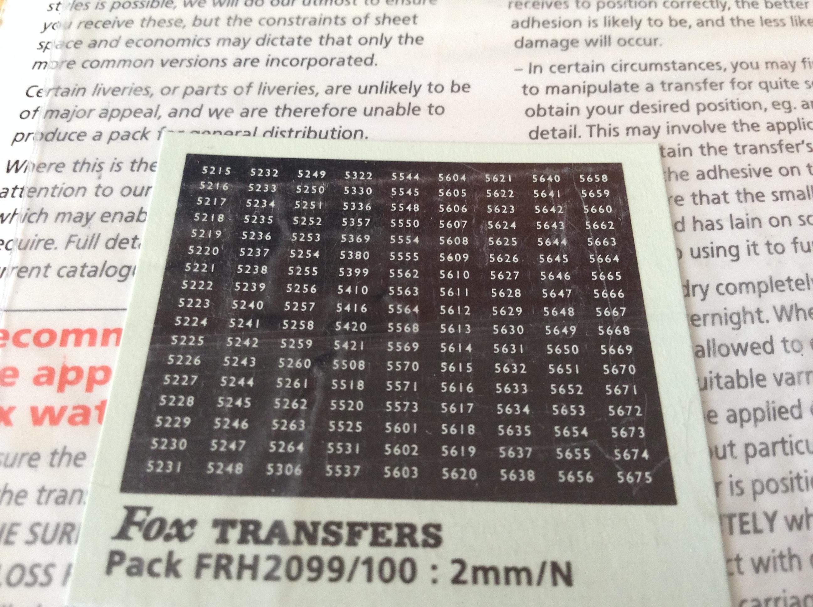 Fox FRH2099/100 Western Region Smokebox Numbersets