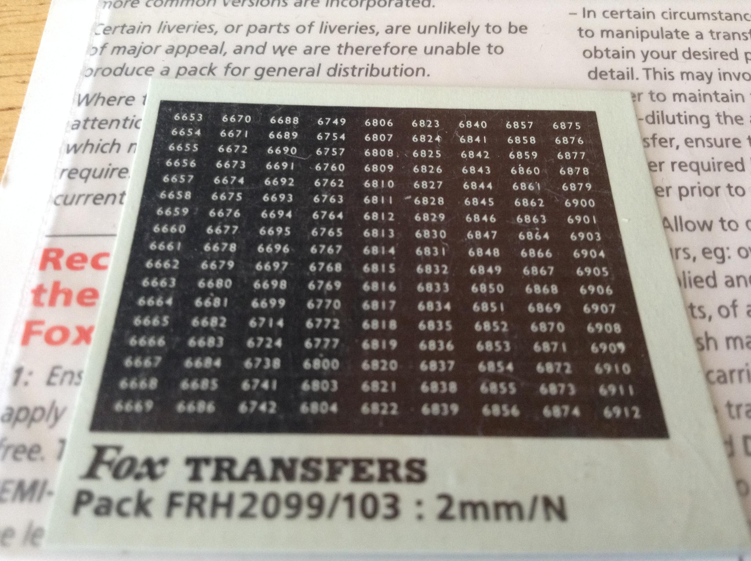 Fox FRH2099/103 Western Region Smokebox Numbersets
