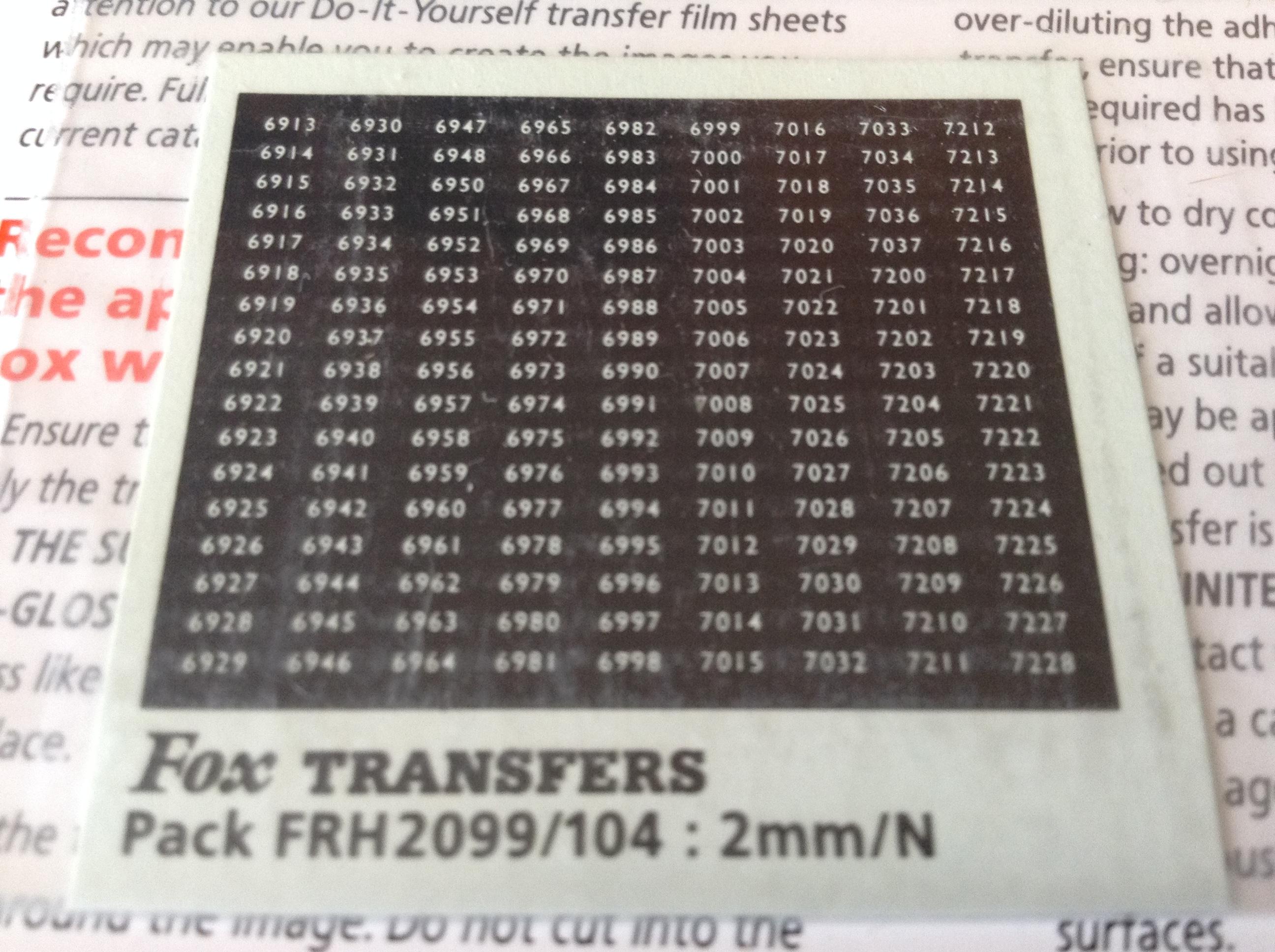 Fox FRH2099/104 Western Region Smokebox Numbersets