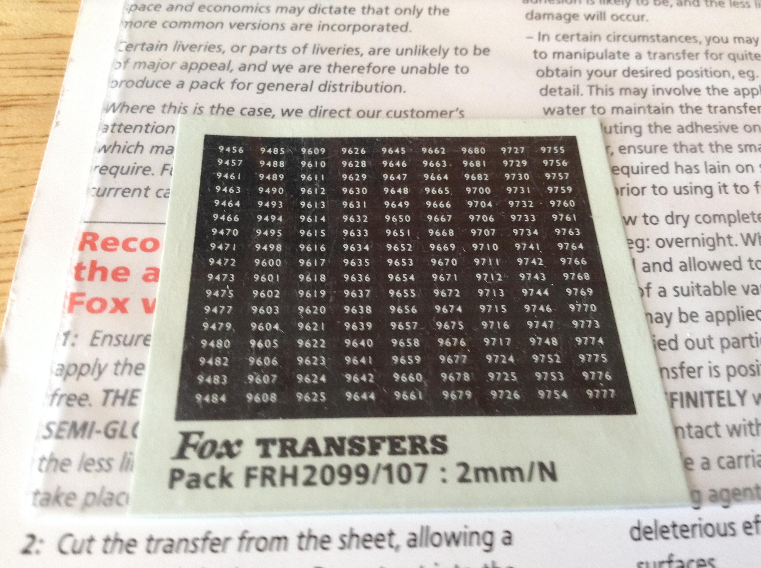 Fox FRH2099/107 Western Region Smokebox Numbersets
