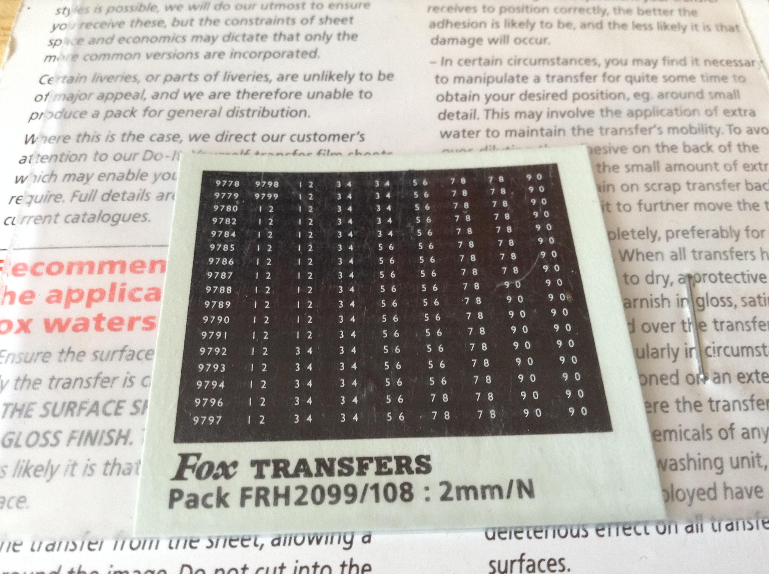 Fox FRH2099/108 Western Region Smokebox Numbersets