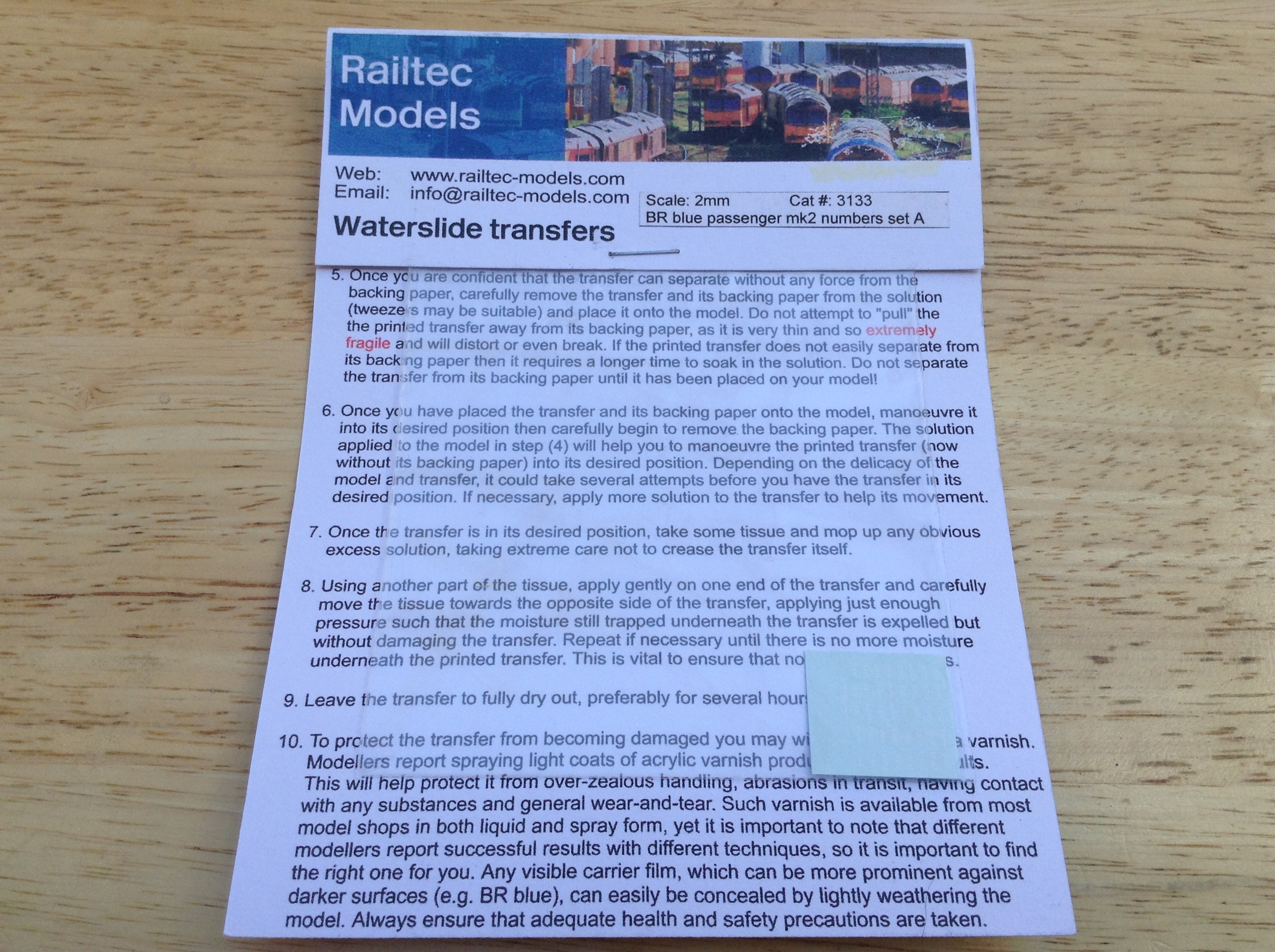 Railtec 3133 BR Blue passenger Mk2 numbers set A