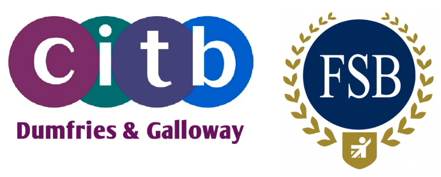 Logos of of The Dumfries and Galloway Training and Construction Group (CITB) and of the Federation of Small Businesses.