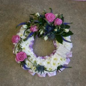 funeral wreath by flowers for you, dalbeattie, with pink roses