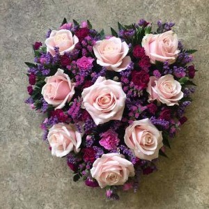 funeral heart arrangement by Flowers for You, Dalbeattie with pink roses