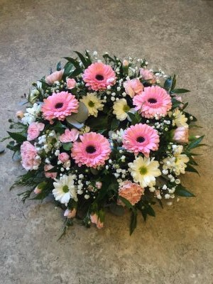 funeral wreath by flowers for you, Dalbeattie, with pink gerbera