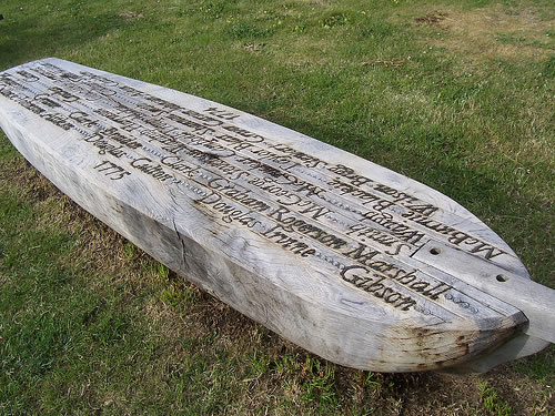 Kirkbean Parish Heritage Society old wooden boat with names of 18th century emigrants