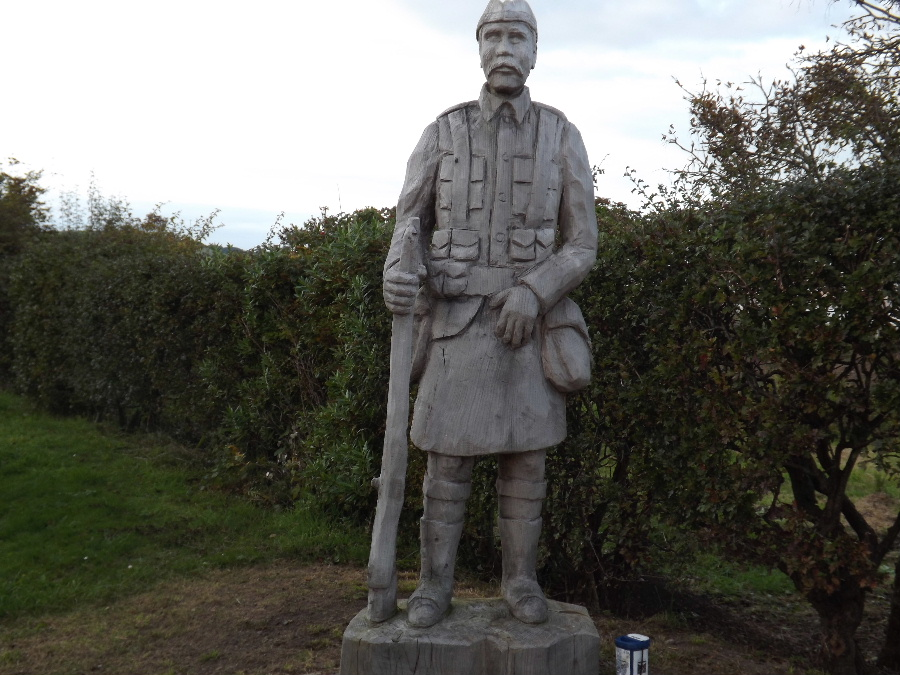 A statue of a Scottish soldier  at Carsethorn, Dumfries and Galloway, Scotland