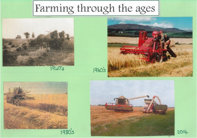 Four images of farming in Kirkbean in the 1940s, the 60s, the 80s and in 2014