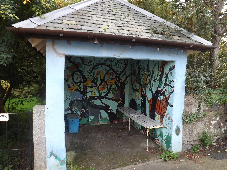 A bus shelter with a mural painted by local children at Kirkbean, Dumfries and Galloway