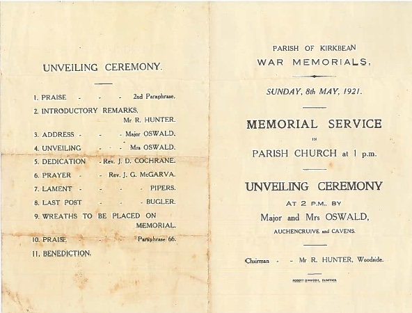 Order of service for the Parish of Kirkbean Memorial Service held on May 8th, 1921, for the unveiling of the war memorials