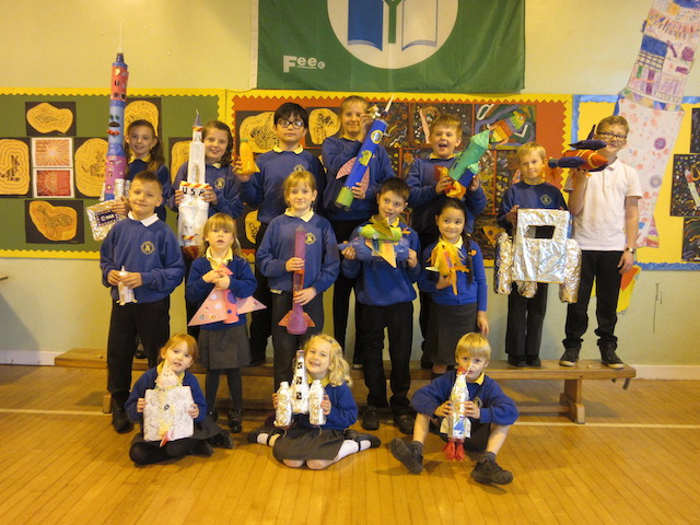 Group photo of Kirkbean Primary School children with the rockets they made.