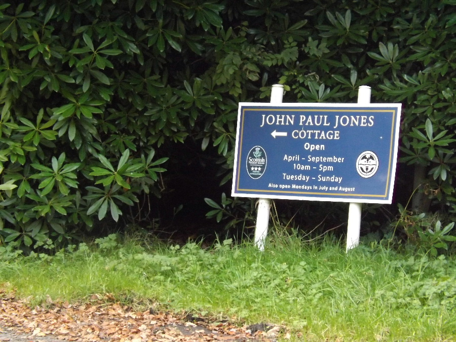 A sign to the John Paul Jones Museum at Arbigland, Kirkbean, Scotland