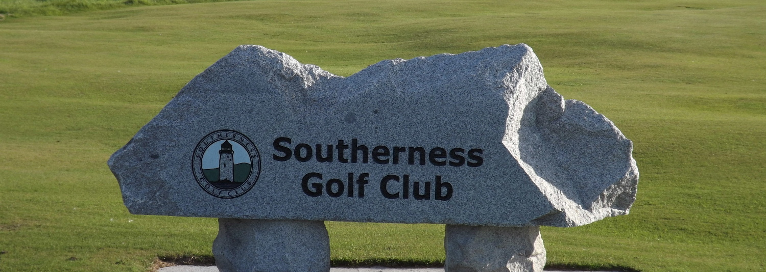 The granite stone sign of the Southerness Golf Club at Southerness, Dumfries and Galloway, Scotland