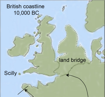 10,000 BC: map showing Scilly isolated by sea but Britain still joined to the Continent via Doggerland