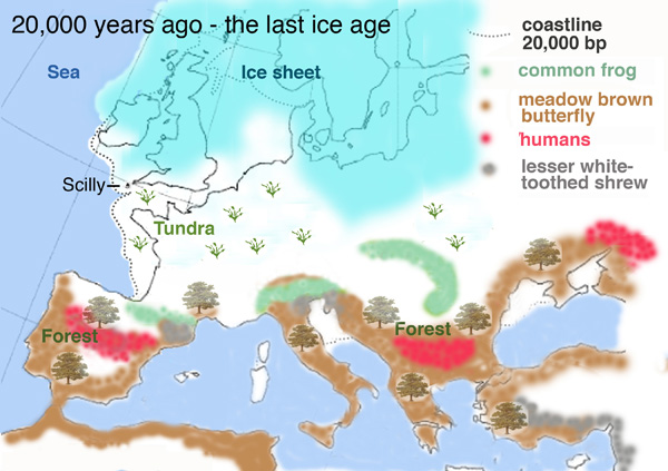 Map of Ice Age Europe showing wildlife refugia around the Mediterranean bowl