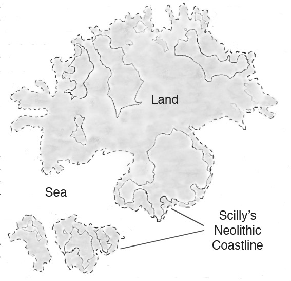 map: Scilly as three islands, Annet and St Agnes with St Marys joined to the rest