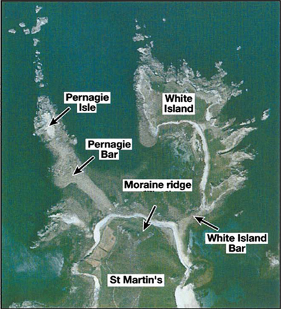 Aerial photo of moraines at St Martins