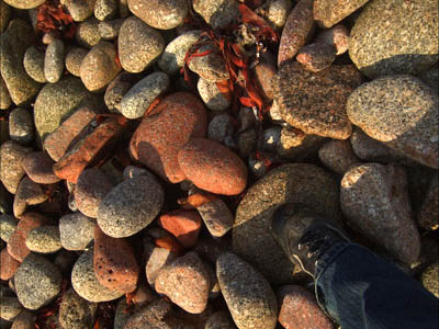 Pink granite pebbles
