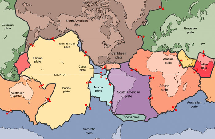 World map showing tectonic plates