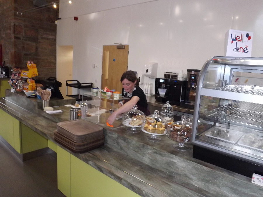 The serving counter at The Usual Place Community Cafe Dumfries