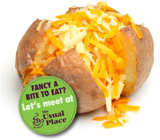 Baked potato with cheese at The Usual Place Cafe Dumfries
